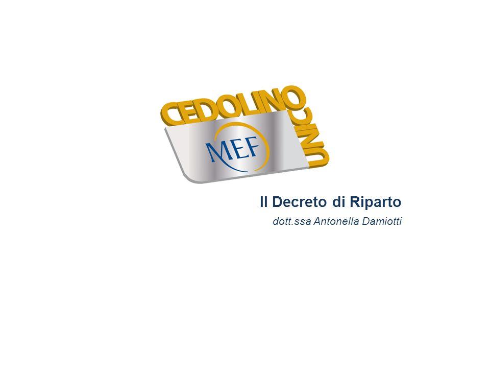 Il Decreto di Riparto dott.ssa Antonella Damiotti