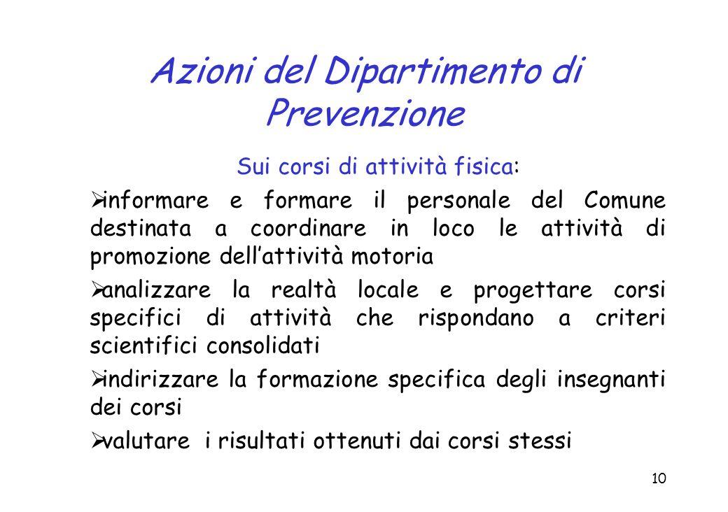 Azioni del Dipartimento di Prevenzione