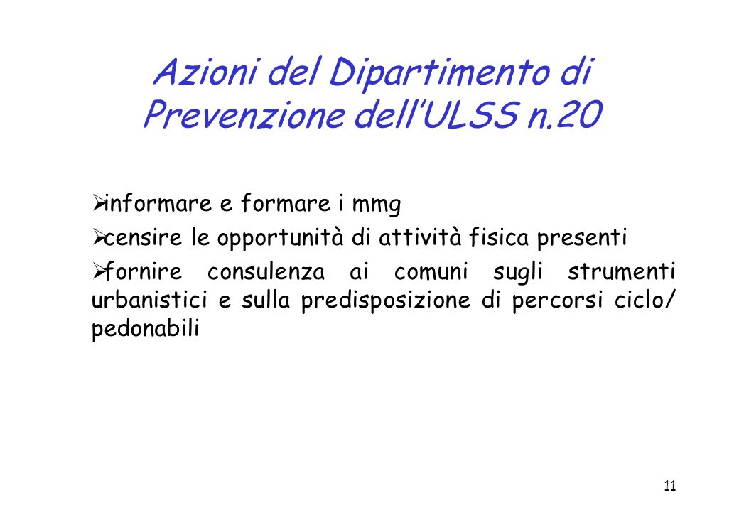 Azioni del Dipartimento di Prevenzione dell'ULSS n.20