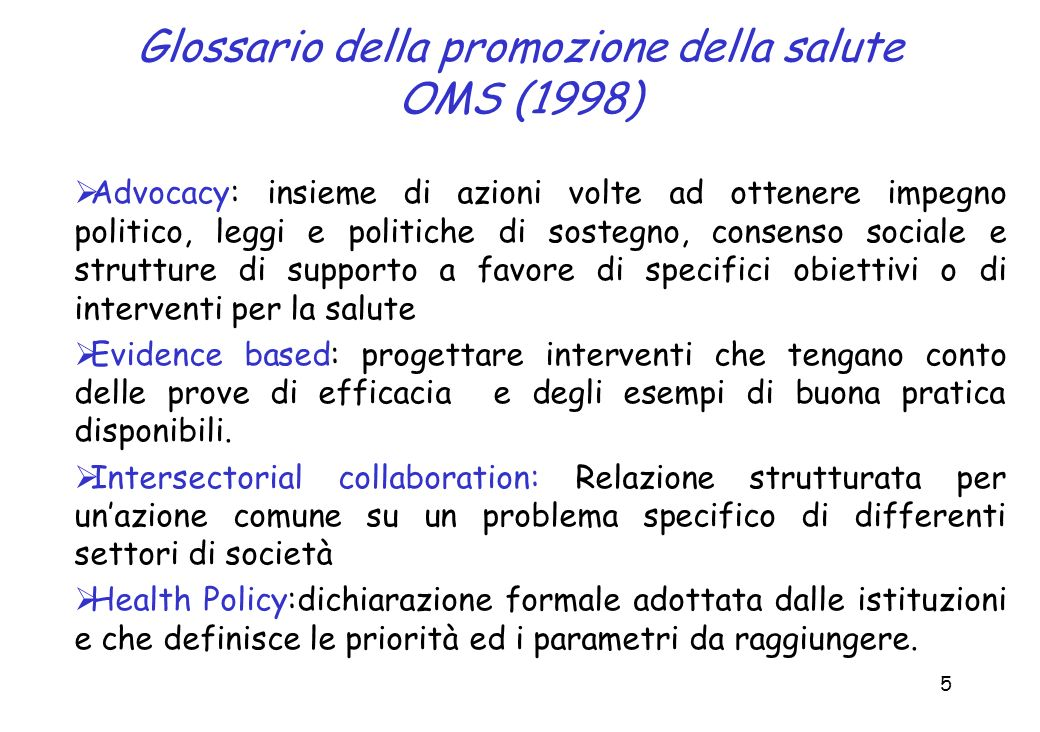 Glossario della promozione della salute OMS (1998)