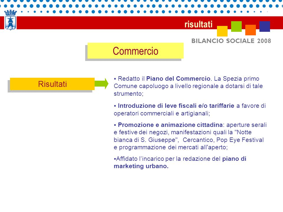 Commercio risultati Risultati BILANCIO SOCIALE 2008