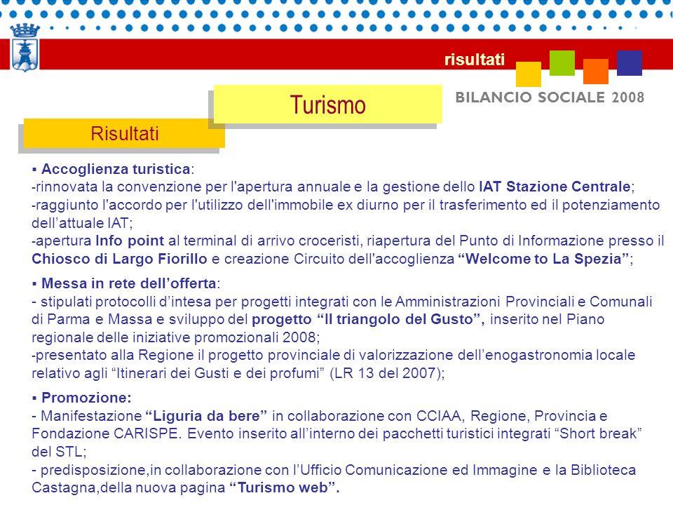 Turismo Risultati risultati BILANCIO SOCIALE 2008