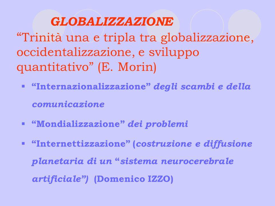 GLOBALIZZAZIONE Trinità una e tripla tra globalizzazione, occidentalizzazione, e sviluppo quantitativo (E. Morin)
