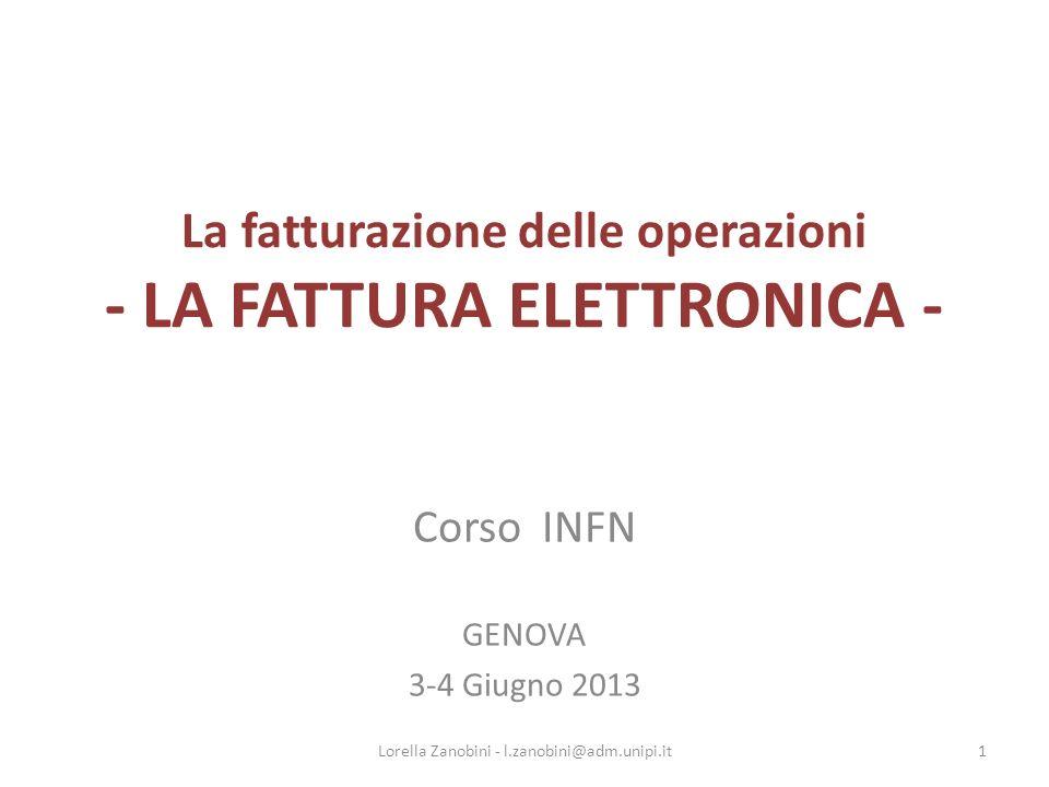 La fatturazione delle operazioni - LA FATTURA ELETTRONICA -