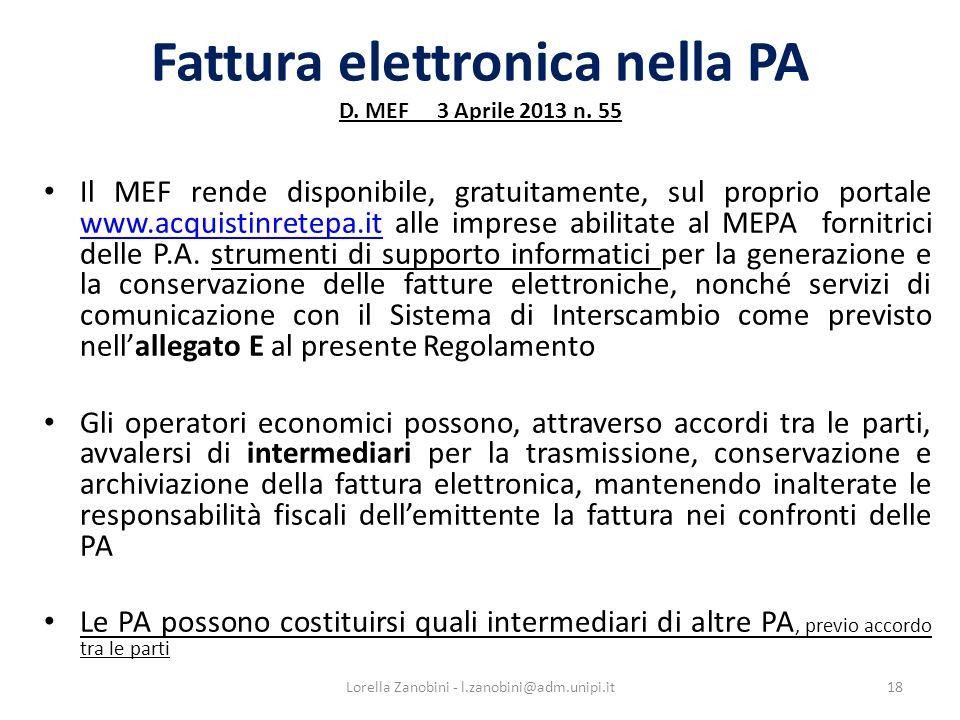 Fattura elettronica nella PA D. MEF 3 Aprile 2013 n. 55