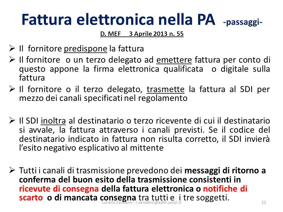 Fattura elettronica nella PA -passaggi- D. MEF 3 Aprile 2013 n. 55