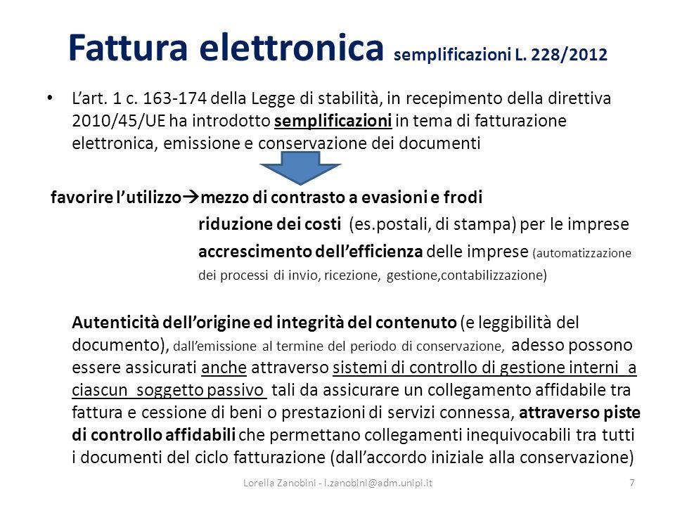 Fattura elettronica semplificazioni L. 228/2012