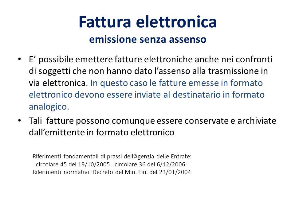 Fattura elettronica emissione senza assenso