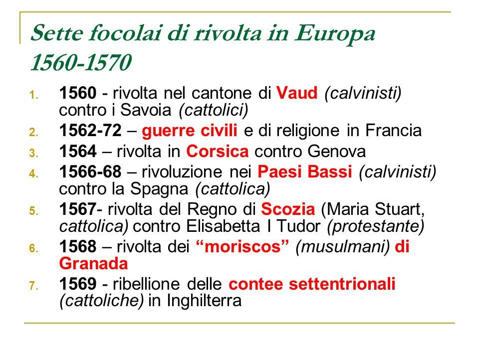 Sette focolai di rivolta in Europa 1560-1570