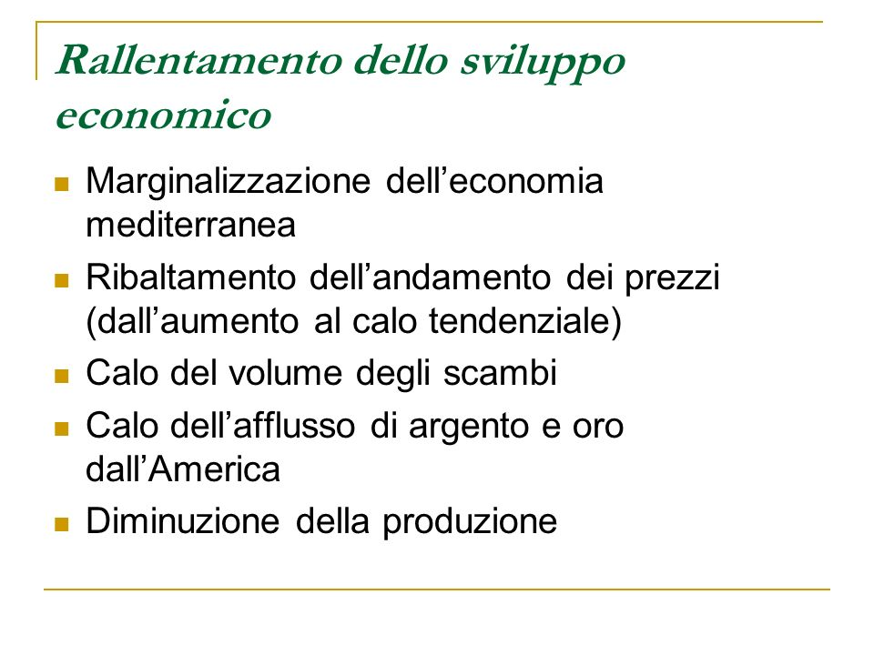 Rallentamento dello sviluppo economico