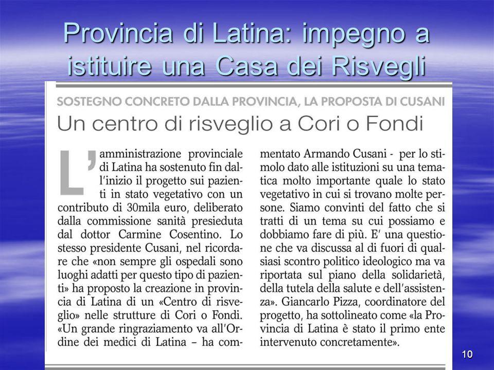 Provincia di Latina: impegno a istituire una Casa dei Risvegli