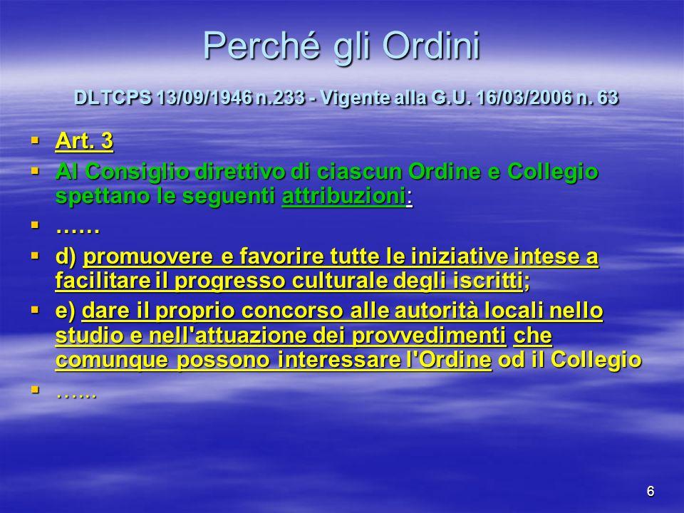 Perché gli Ordini DLTCPS 13/09/1946 n. 233 - Vigente alla G. U