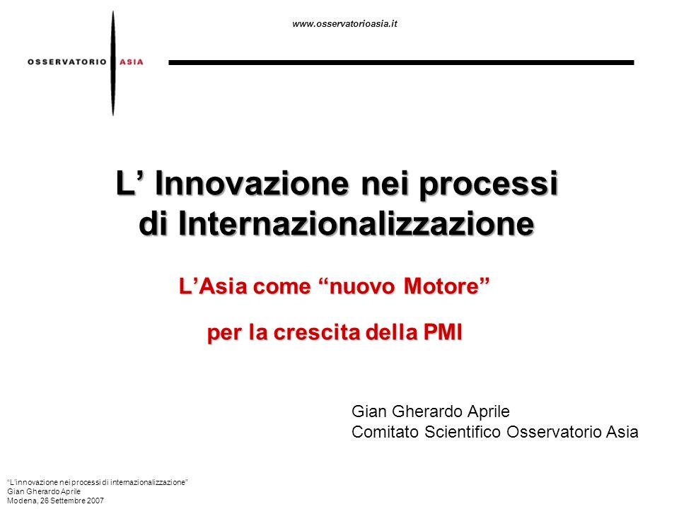 L' Innovazione nei processi di Internazionalizzazione
