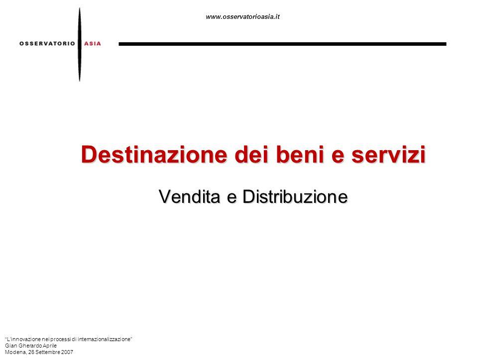 Destinazione dei beni e servizi