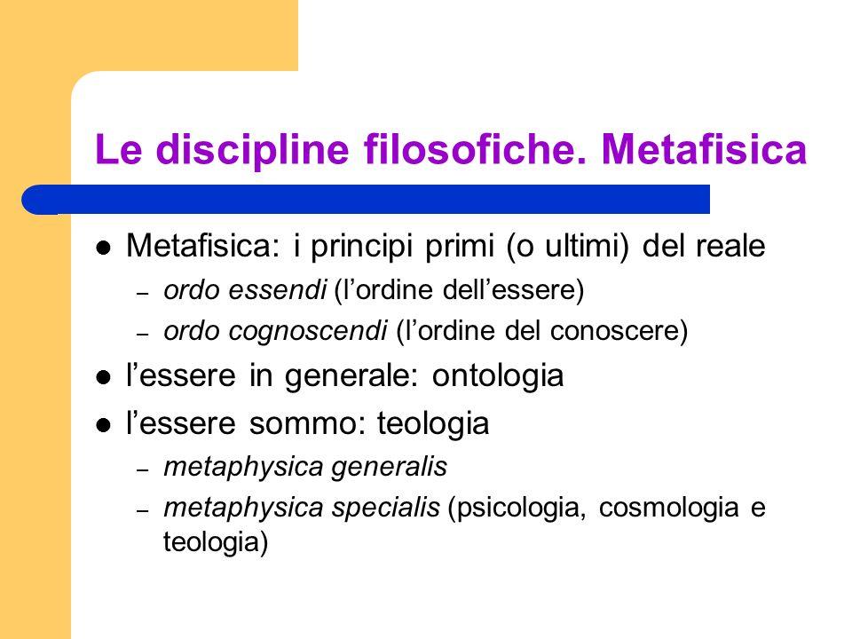 Le discipline filosofiche. Metafisica