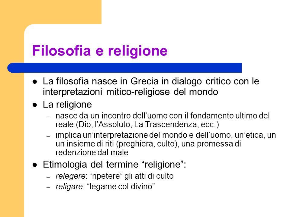 Filosofia e religione La filosofia nasce in Grecia in dialogo critico con le interpretazioni mitico-religiose del mondo.