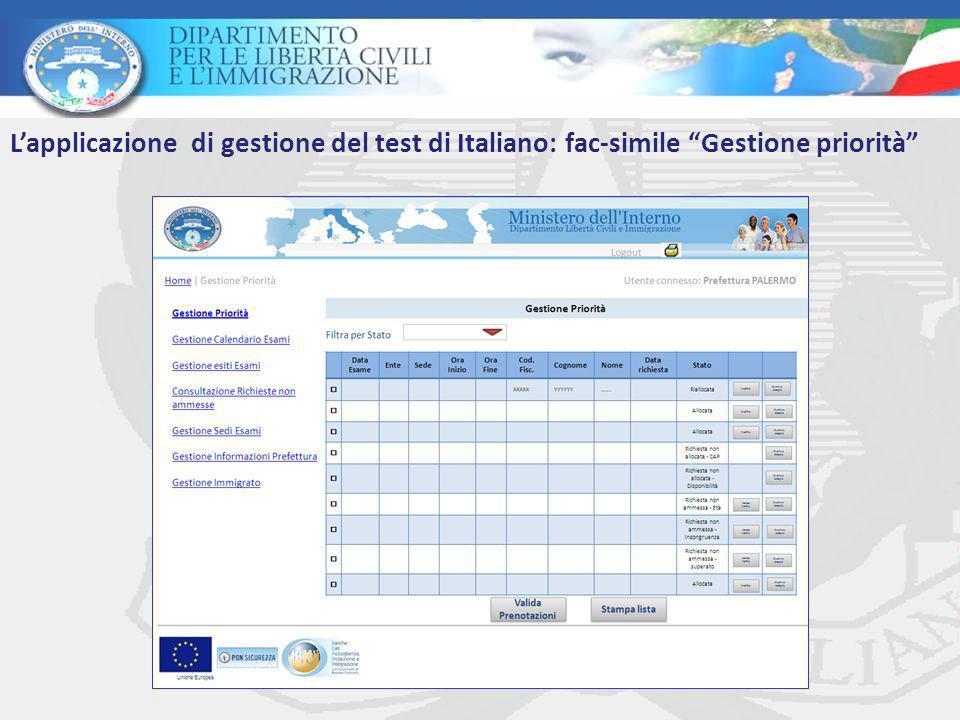 L'applicazione di gestione del test di Italiano: fac-simile Gestione priorità