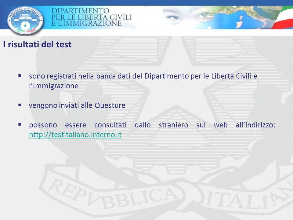 I risultati del test sono registrati nella banca dati del Dipartimento per le Libertà Civili e. l'Immigrazione.