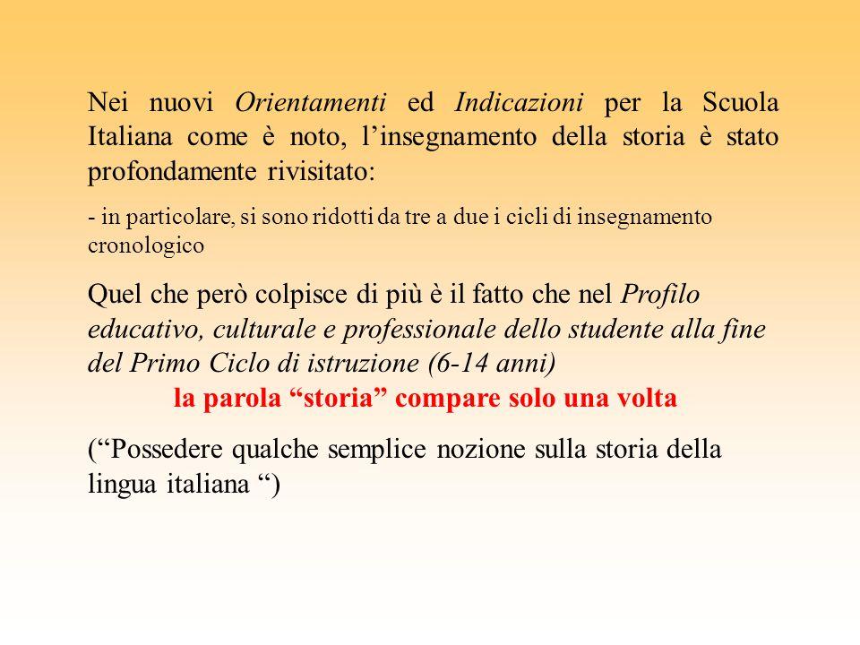 Nei nuovi Orientamenti ed Indicazioni per la Scuola Italiana come è noto, l'insegnamento della storia è stato profondamente rivisitato: