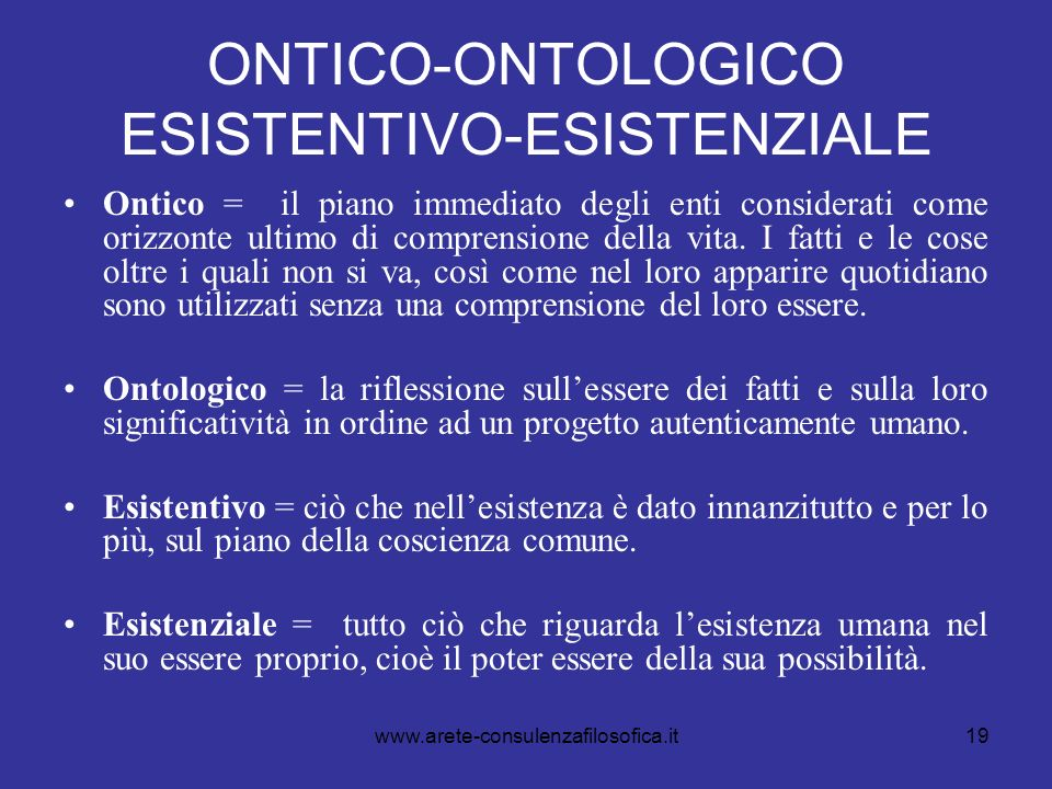 ONTICO-ONTOLOGICO ESISTENTIVO-ESISTENZIALE