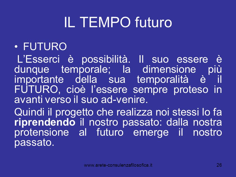 IL TEMPO futuro FUTURO.