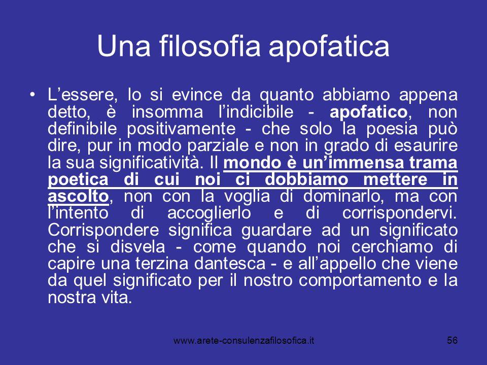 Una filosofia apofatica
