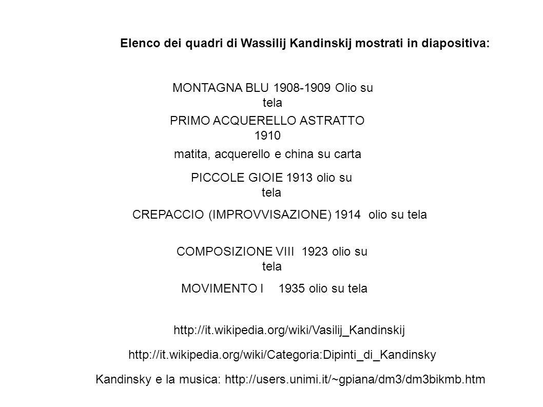 Elenco dei quadri di Wassilij Kandinskij mostrati in diapositiva:
