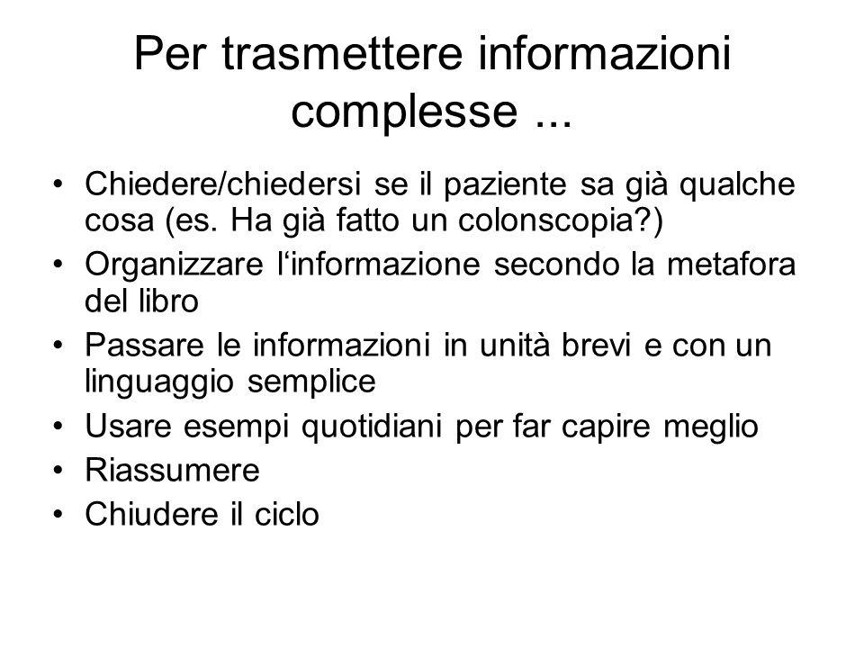Per trasmettere informazioni complesse ...