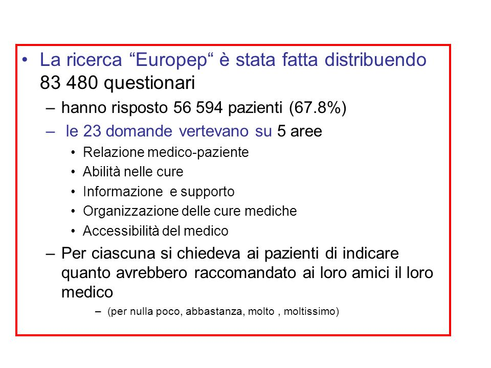 La ricerca Europep è stata fatta distribuendo 83 480 questionari