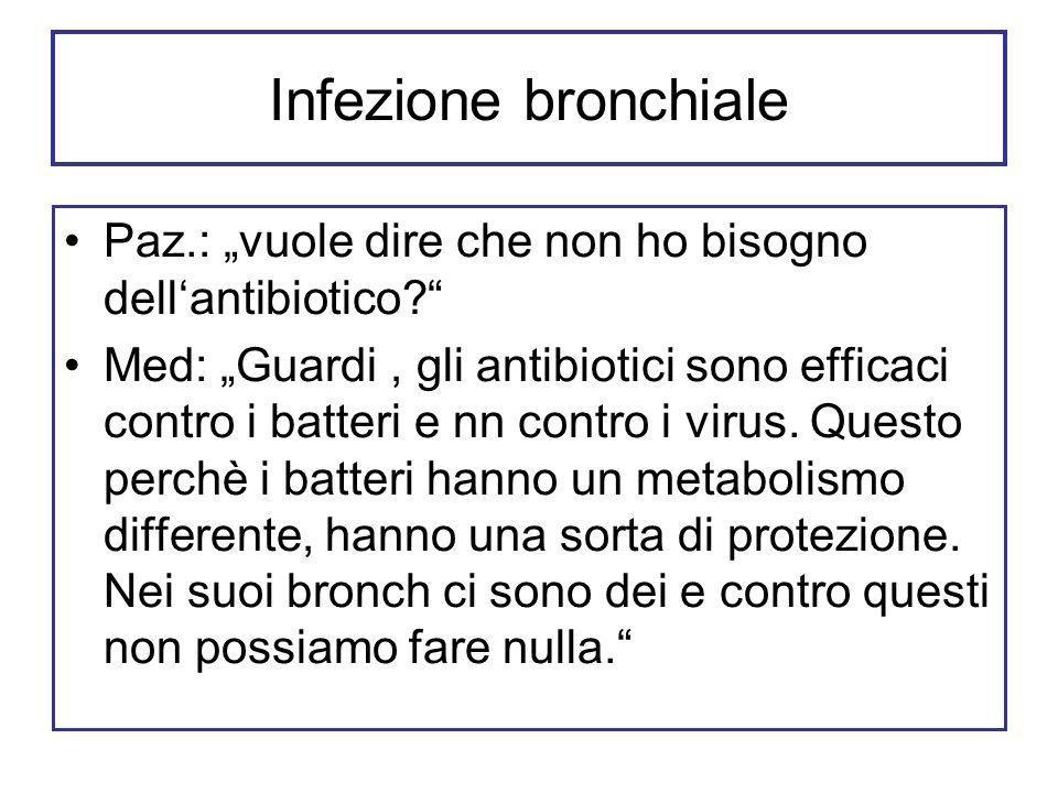 """Infezione bronchiale Paz.: """"vuole dire che non ho bisogno dell'antibiotico"""
