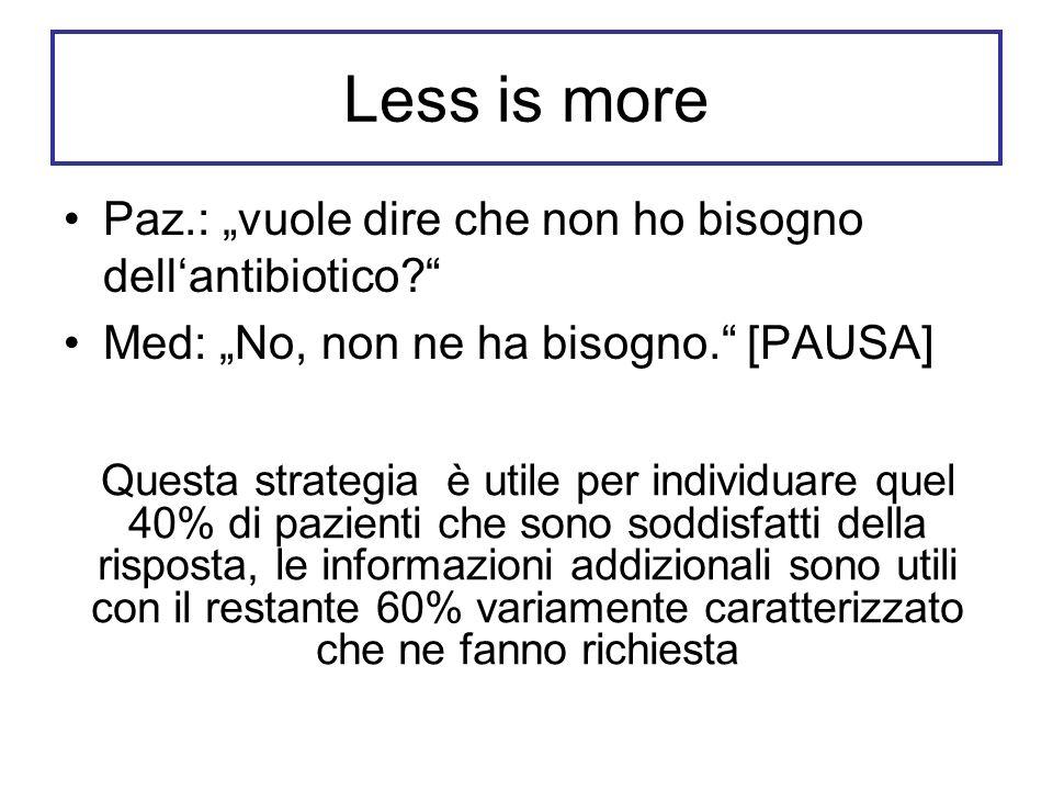 """Less is more Paz.: """"vuole dire che non ho bisogno dell'antibiotico"""