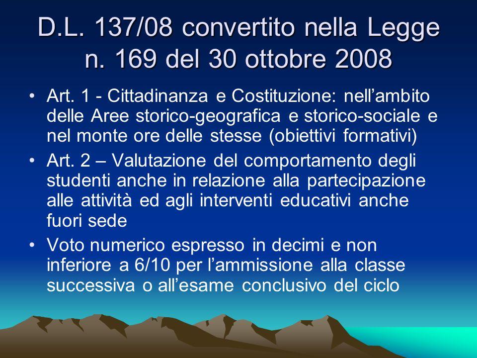 D.L. 137/08 convertito nella Legge n. 169 del 30 ottobre 2008