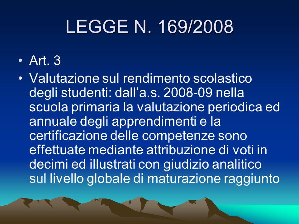 LEGGE N. 169/2008Art. 3.