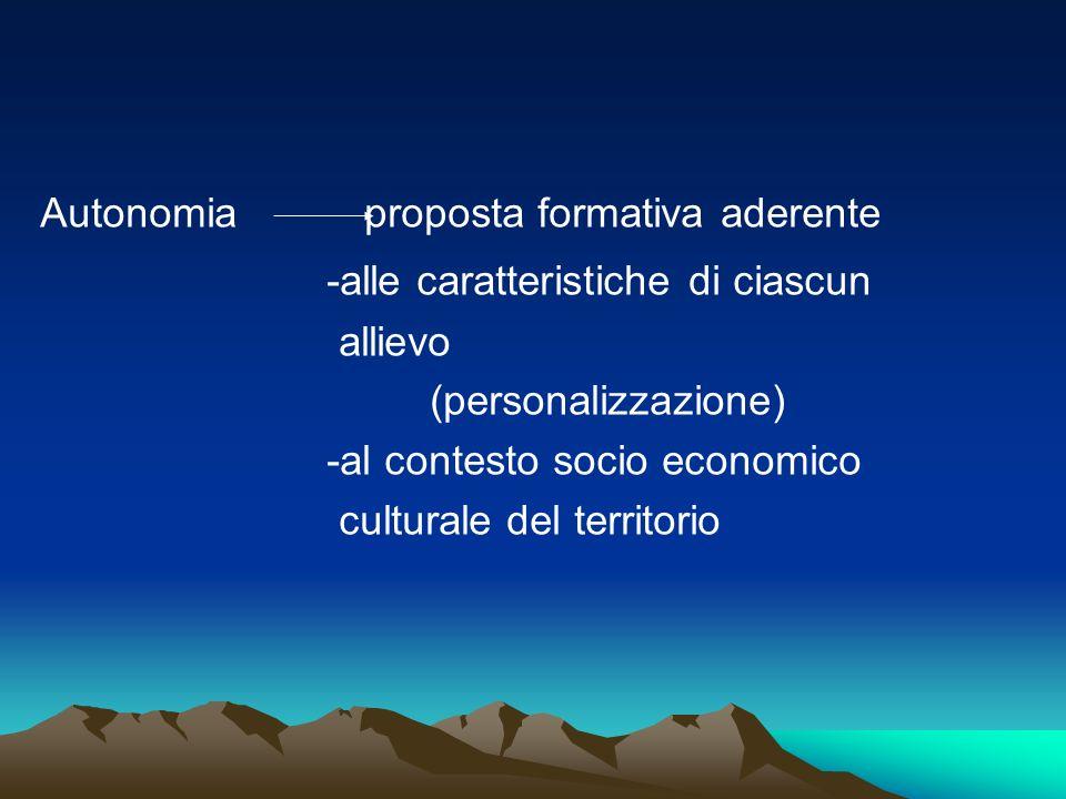 Autonomia proposta formativa aderente