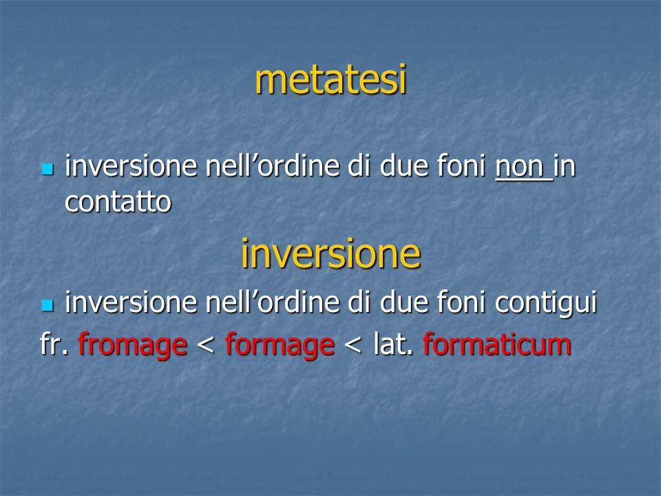 metatesi inversione inversione nell'ordine di due foni non in contatto