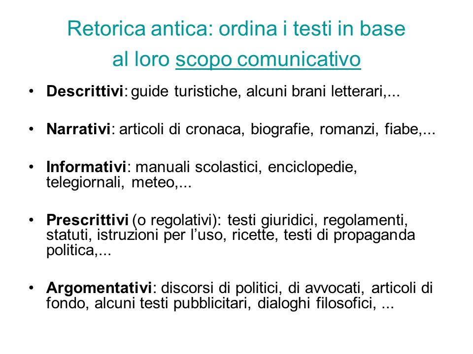 Retorica antica: ordina i testi in base al loro scopo comunicativo