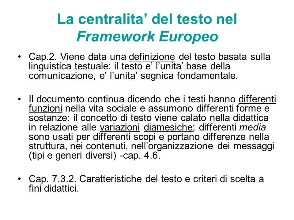 La centralita' del testo nel Framework Europeo