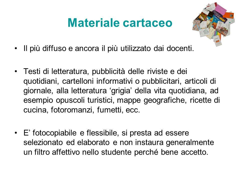 Materiale cartaceo Il più diffuso e ancora il più utilizzato dai docenti.