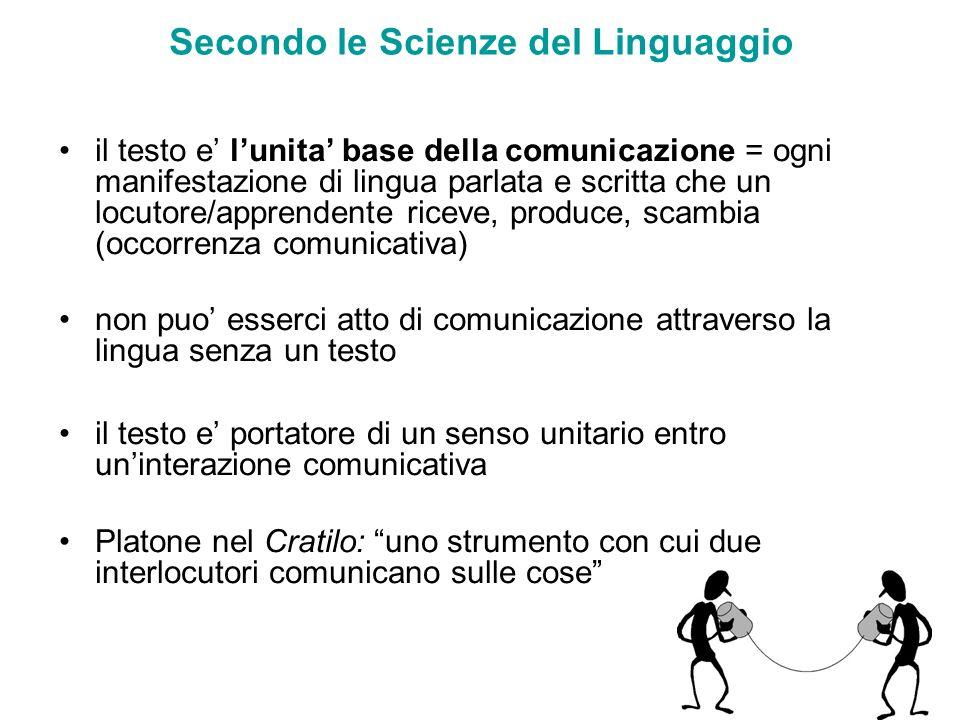 Secondo le Scienze del Linguaggio