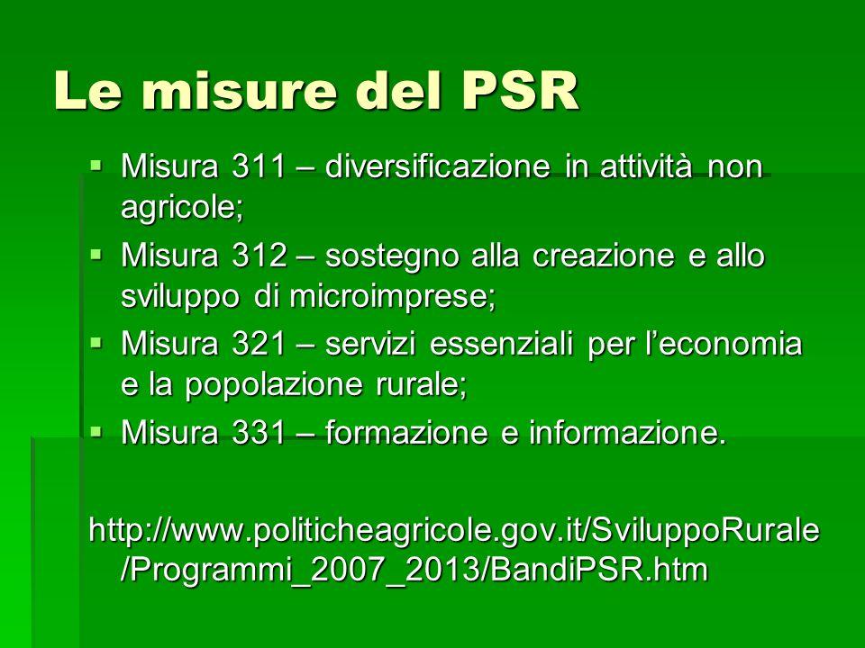 Le misure del PSR Misura 311 – diversificazione in attività non agricole; Misura 312 – sostegno alla creazione e allo sviluppo di microimprese;