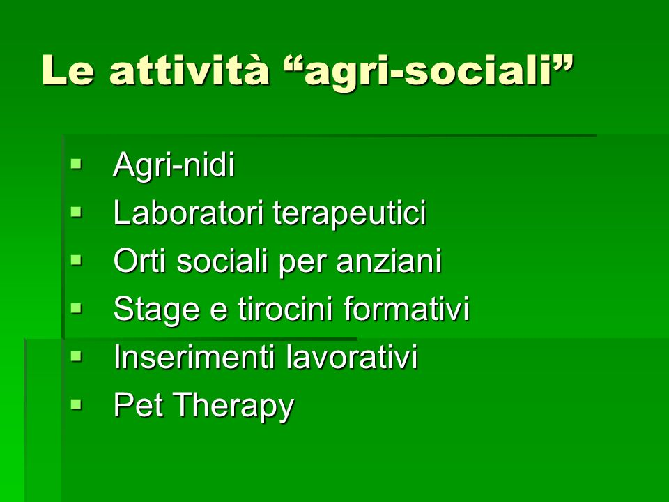 Le attività agri-sociali