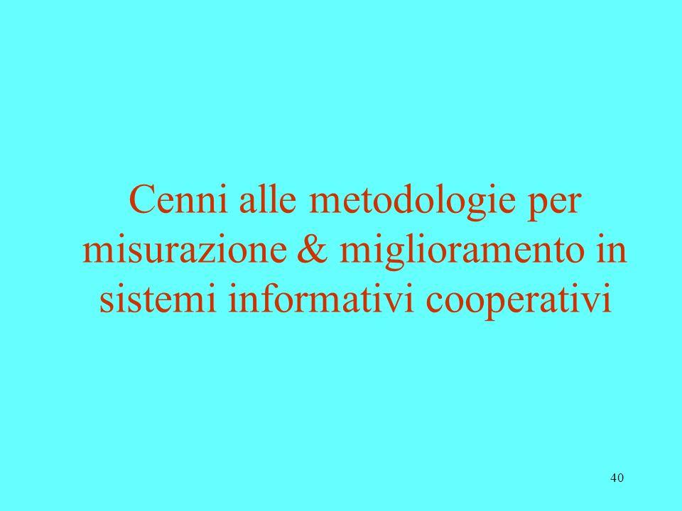 Cenni alle metodologie per misurazione & miglioramento in sistemi informativi cooperativi