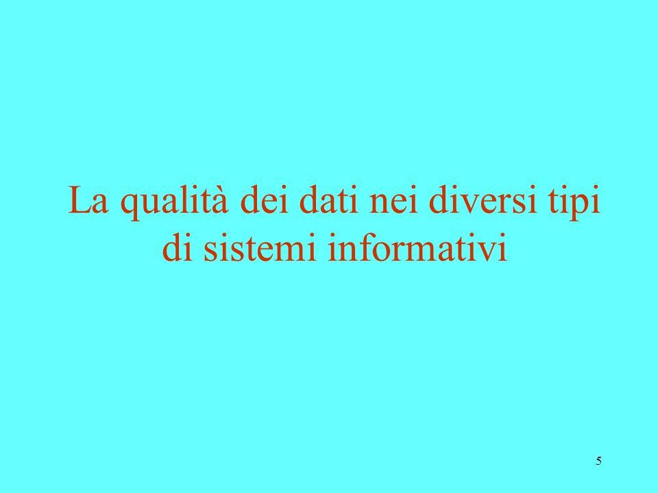 La qualità dei dati nei diversi tipi di sistemi informativi