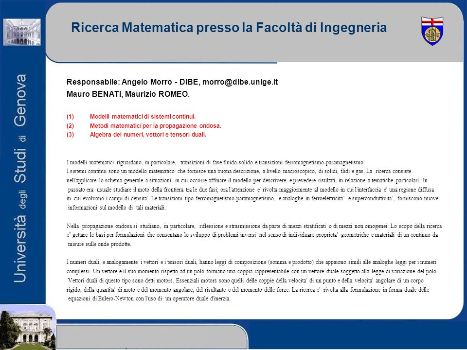 Ricerca Matematica presso la Facoltà di Ingegneria