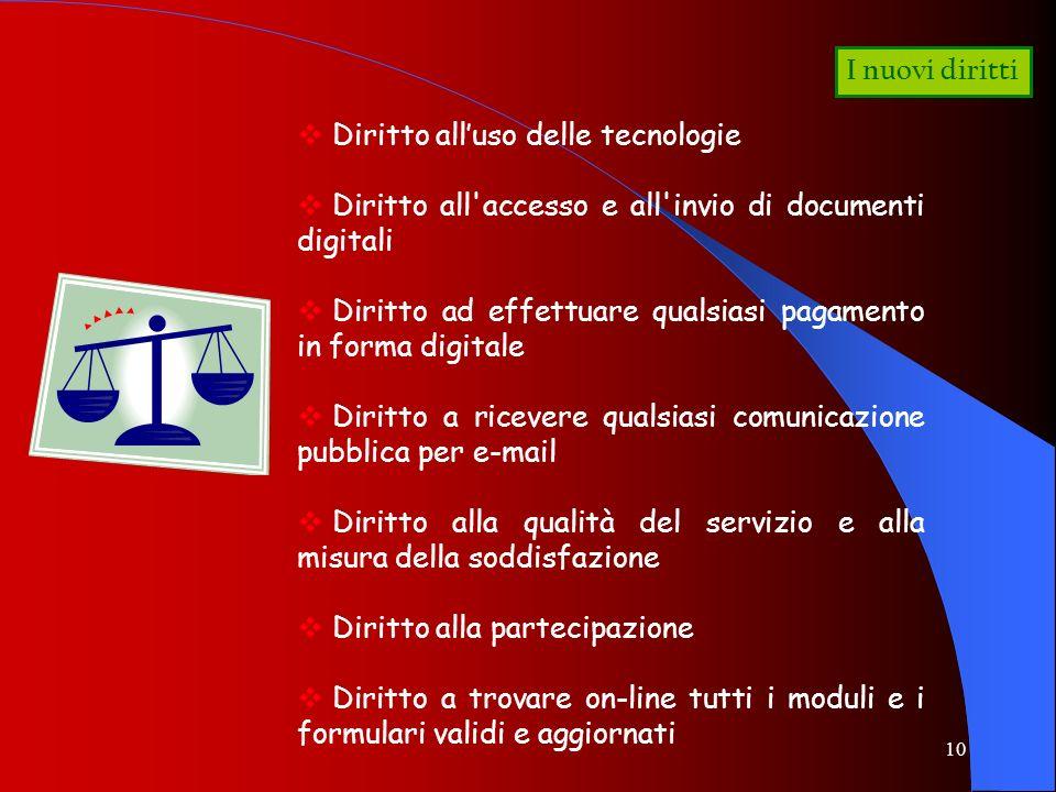 I nuovi diritti Diritto all'uso delle tecnologie. Diritto all accesso e all invio di documenti digitali.