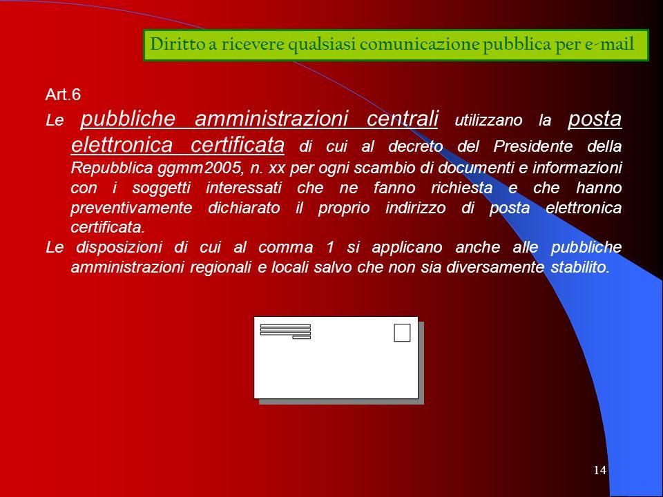 Diritto a ricevere qualsiasi comunicazione pubblica per e-mail