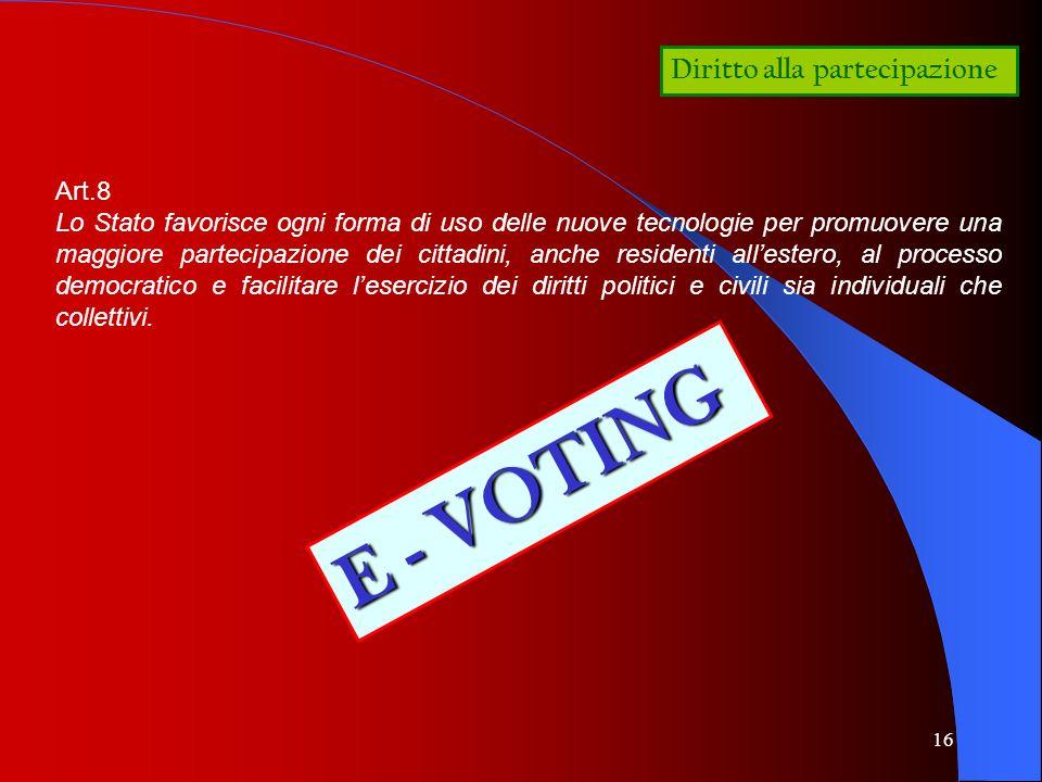 E - VOTING Diritto alla partecipazione Art.8
