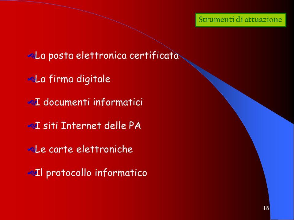 La posta elettronica certificata La firma digitale