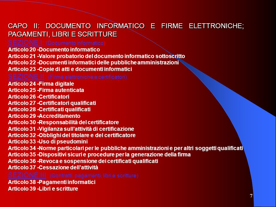 SEZIONE I: (Documento informatico)