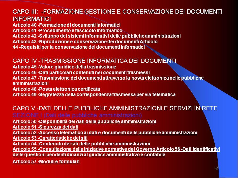 CAPO IV -TRASMISSIONE INFORMATICA DEI DOCUMENTI